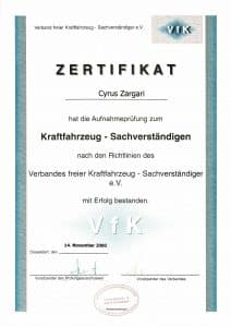 Cyrus Zargari Sachv. Zertifikat